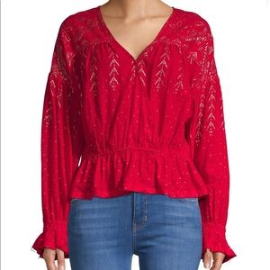 NEW Free People Metallic V-Neck Blouse